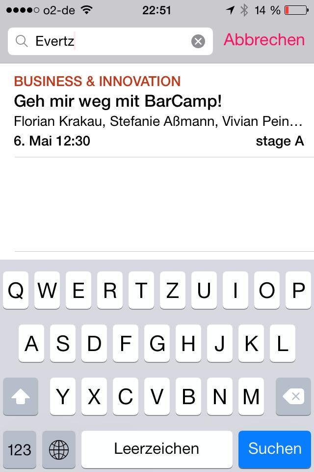 Session-Suche über Sprecher re:app #rp14