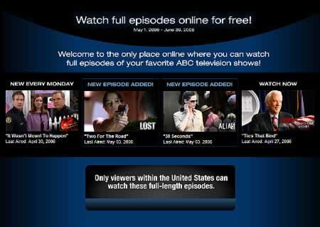 Ansicht der ABC-Seite für Besucher außerhalb der USA