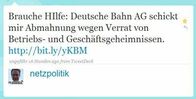 Brauche HIlfe: Deutsche Bahn AG schickt mir Abmahnung