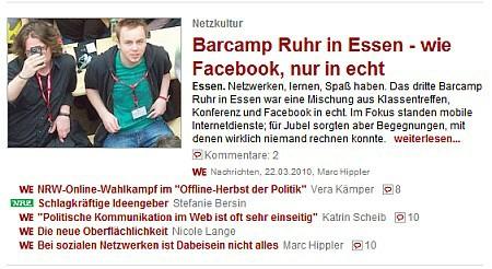 BarCampRuhr3 auf dem Titel bei DerWesten