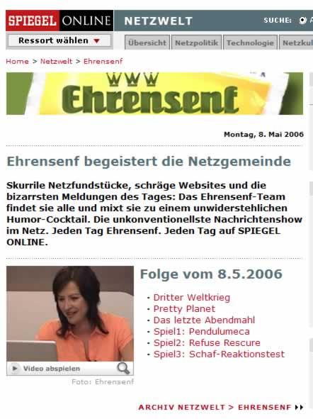 Ehrensenf bei Spiegel Online - die Zweite