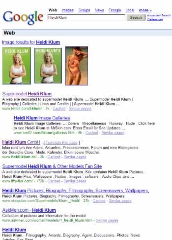 normales Google-Suchergebnis für 'Heidi Klum'