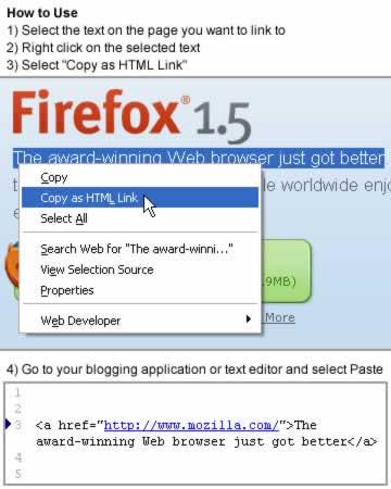 Screenshot 'Copy as HTML Link'